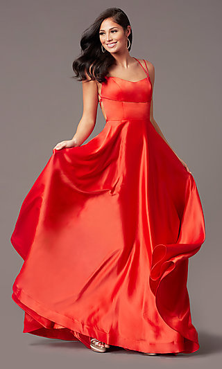 Square-Neck Long Formal Prom Dress by PromGirl