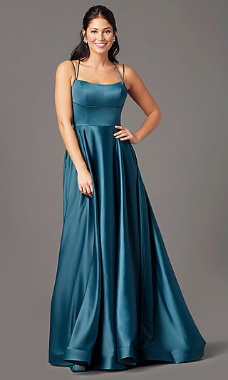 Long Square Neck Prom Dress by PromGirl