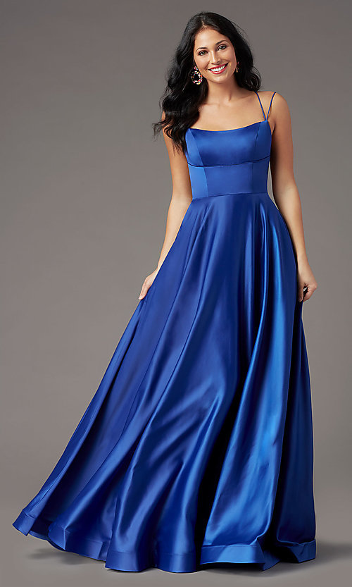 Image of square-neck long formal prom dress by PromGirl. Style: PG-B2010 Front Image