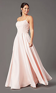Image of PromGirl embroidered-bodice formal long prom dress. Style: PG-B2019 Detail Image 2