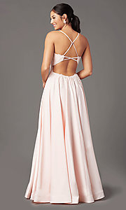 Image of PromGirl embroidered-bodice formal long prom dress. Style: PG-B2019 Detail Image 3