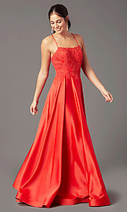 Image of PromGirl embroidered-bodice formal long prom dress. Style: PG-B2019 Back Image