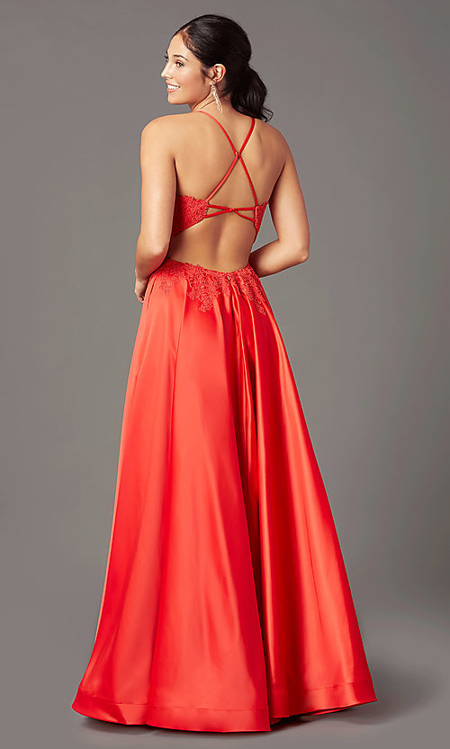 Image of PromGirl embroidered-bodice formal long prom dress. Style: PG-B2019 Front Image