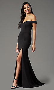 Image of PromGirl long off-shoulder prom dress with train. Style: PG-B2028 Detail Image 6
