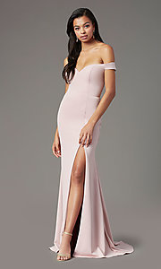 Image of PromGirl long off-shoulder prom dress with train. Style: PG-B2028 Detail Image 3