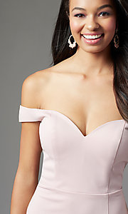 Image of PromGirl long off-shoulder prom dress with train. Style: PG-B2028 Detail Image 5