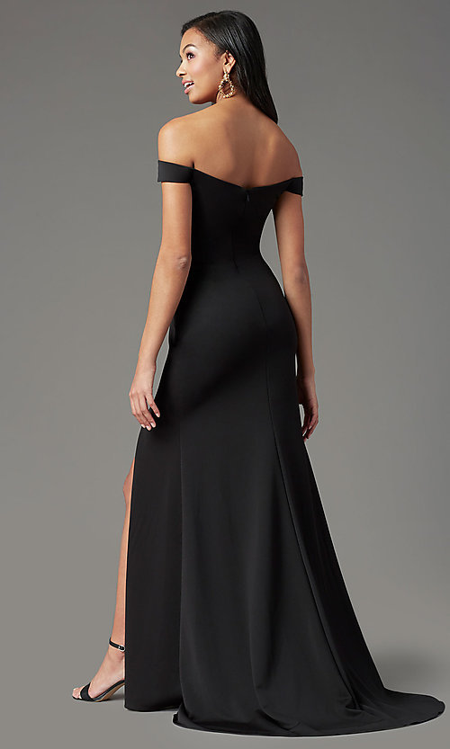 Image of PromGirl long off-shoulder prom dress with train. Style: PG-B2028 Detail Image 7
