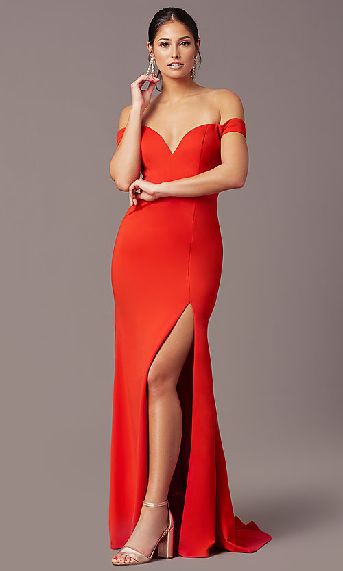 Image of PromGirl long off-shoulder prom dress with train. Style: PG-B2028 Front Image