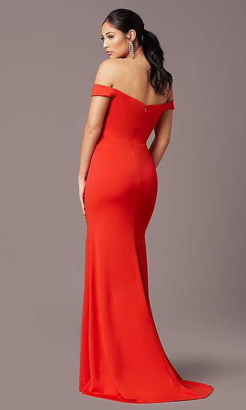 Image of PromGirl long off-shoulder prom dress with train. Style: PG-B2028 Back Image