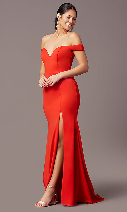 Image of PromGirl long off-shoulder prom dress with train. Style: PG-B2028 Detail Image 2