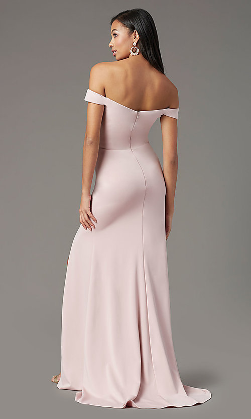 Image of PromGirl long off-shoulder prom dress with train. Style: PG-B2028 Detail Image 4