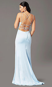 Image of long open-back sheath prom dress by PromGirl. Style: PG-B2030 Back Image