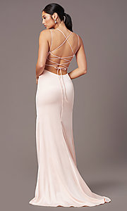 Image of long open-back sheath prom dress by PromGirl. Style: PG-B2030 Detail Image 4