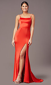 Image of long open-back sheath prom dress by PromGirl. Style: PG-B2030 Detail Image 7