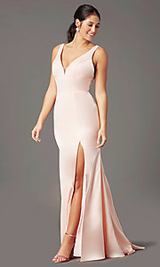 Image of long fitted v-neck prom dress by PromGirl. Style: PG-B2036 Detail Image 2