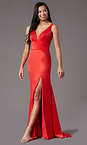 Image of long fitted v-neck prom dress by PromGirl. Style: PG-B2036 Detail Image 3