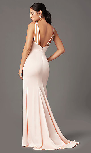 Long Fitted V-Neck Prom Dress by PromGirl
