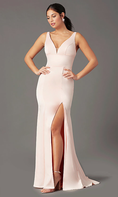 Image of long fitted v-neck prom dress by PromGirl. Style: PG-B2036 Back Image