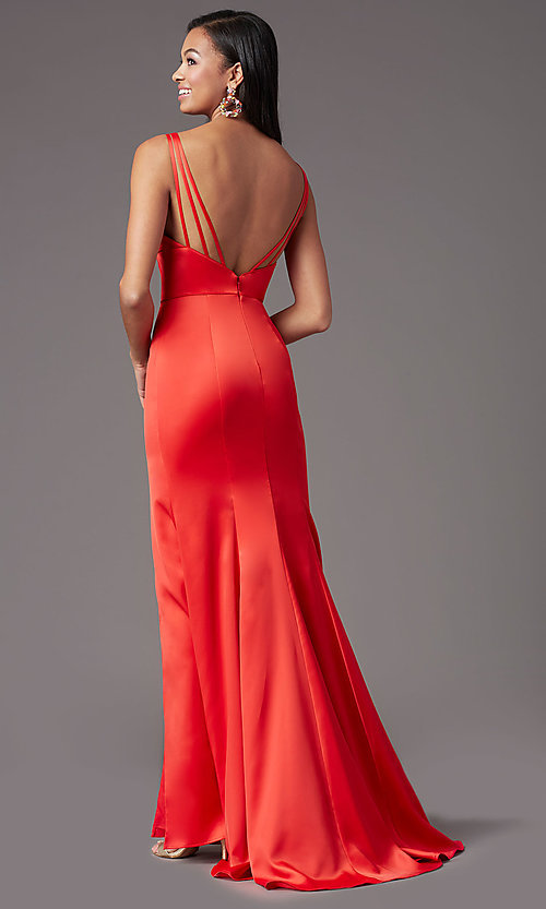 Image of long fitted v-neck prom dress by PromGirl. Style: PG-B2036 Detail Image 4