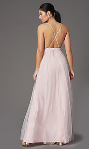 Image of long open-back formal tulle prom dress by PromGirl. Style: PG-B2042 Detail Image 7