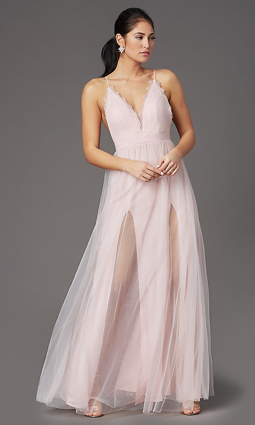 Image of long open-back formal tulle prom dress by PromGirl. Style: PG-B2042 Detail Image 6