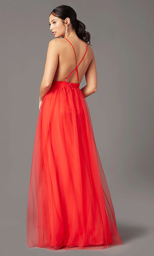 Image of long open-back formal tulle prom dress by PromGirl. Style: PG-B2042 Detail Image 3