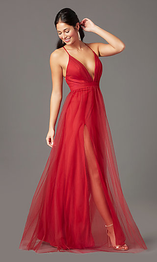 Long Tulle V-Neck Formal Prom Dress by PromGirl