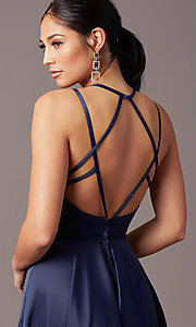 Image of long faux-wrap open-back prom dress by PromGirl. Style: PG-F2004 Detail Image 5