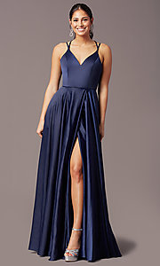 Image of long faux-wrap open-back prom dress by PromGirl. Style: PG-F2004 Detail Image 3