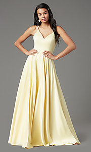 Image of long faux-wrap open-back prom dress by PromGirl. Style: PG-F2004 Detail Image 2