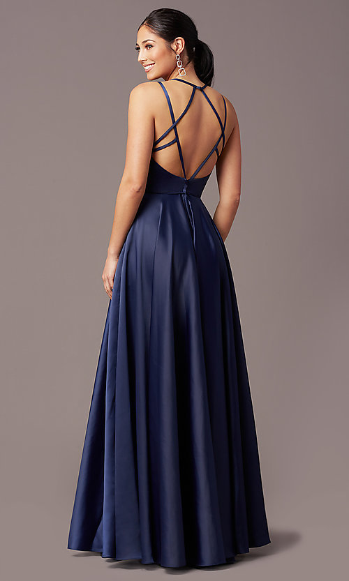 Image of long faux-wrap open-back prom dress by PromGirl. Style: PG-F2004 Detail Image 4