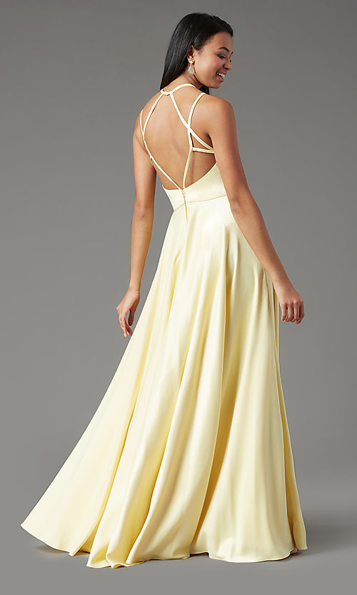 Image of long faux-wrap open-back prom dress by PromGirl. Style: PG-F2004 Back Image