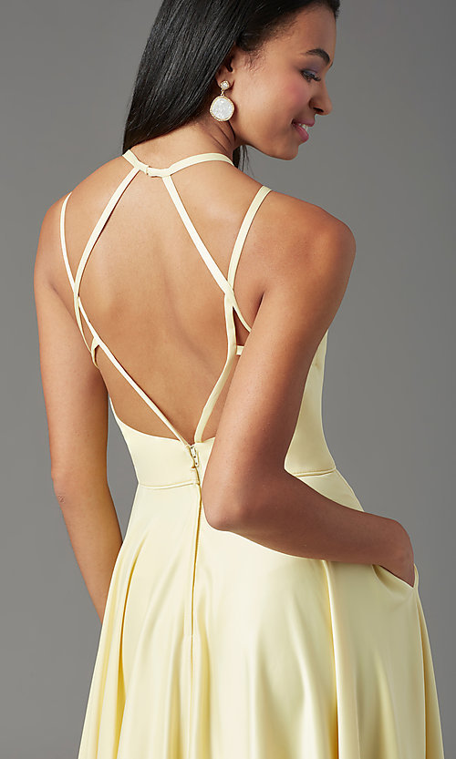 Image of long faux-wrap open-back prom dress by PromGirl. Style: PG-F2004 Detail Image 1