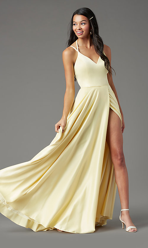 Image of long faux-wrap open-back prom dress by PromGirl. Style: PG-F2004 Front Image