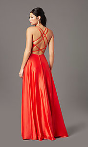 Image of faux-wrap long satin formal prom dress by PromGirl. Style: PG-F2005 Back Image