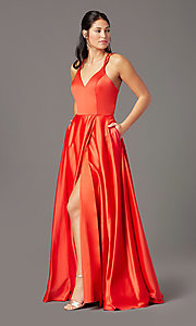 Image of faux-wrap long satin formal prom dress by PromGirl. Style: PG-F2005 Detail Image 2