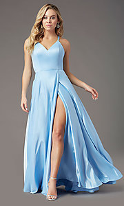 Image of faux-wrap long satin formal prom dress by PromGirl. Style: PG-F2005 Detail Image 6