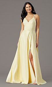 Image of faux-wrap long satin formal prom dress by PromGirl. Style: PG-F2005 Detail Image 3