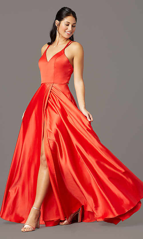 Image of faux-wrap long satin formal prom dress by PromGirl. Style: PG-F2005 Front Image