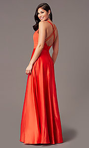Image of faux-wrap long deep-v-neck prom dress by PromGirl. Style: PG-F2009 Detail Image 1