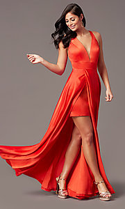 Image of faux-wrap long deep-v-neck prom dress by PromGirl. Style: PG-F2009 Detail Image 2