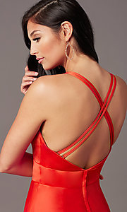 Image of faux-wrap long deep-v-neck prom dress by PromGirl. Style: PG-F2009 Detail Image 3