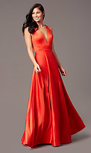 Image of faux-wrap long deep-v-neck prom dress by PromGirl. Style: PG-F2009 Detail Image 4