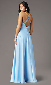 Image of faux-wrap long deep-v-neck prom dress by PromGirl. Style: PG-F2009 Detail Image 6