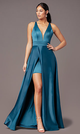 Faux-Wrap Long Deep-V-Neck Prom Dress by PromGirl