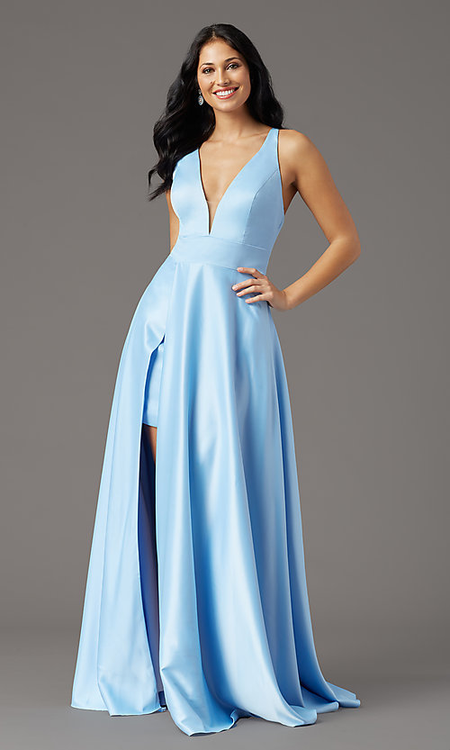 Image of faux-wrap long deep-v-neck prom dress by PromGirl. Style: PG-F2009 Detail Image 5