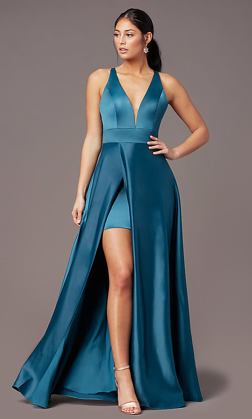 Image of faux-wrap long deep-v-neck prom dress by PromGirl. Style: PG-F2009 Front Image