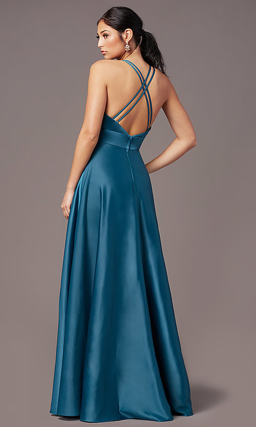 Image of faux-wrap long deep-v-neck prom dress by PromGirl. Style: PG-F2009 Back Image