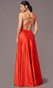 Image of strappy-open-back satin long prom dress by PromGirl. Style: PG-F2012 Detail Image 7