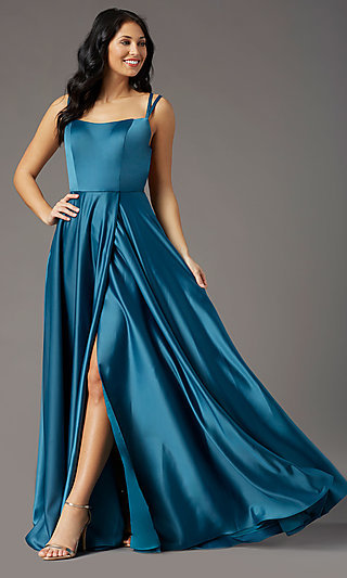 Strappy-Open-Back Satin Long Prom Dress by PromGirl